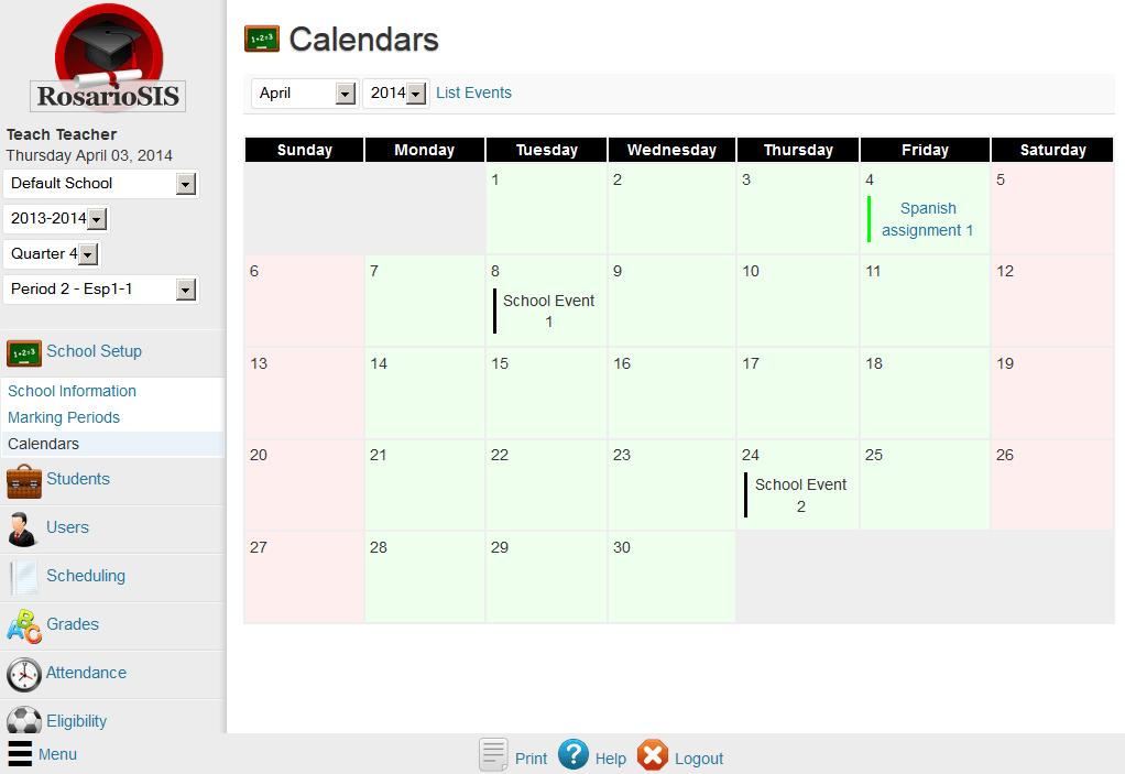 RosarioSIS Institución Calendario