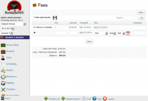 RosarioSIS Student Billing Fees