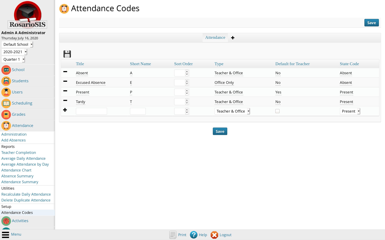 Attendance Codes Setup