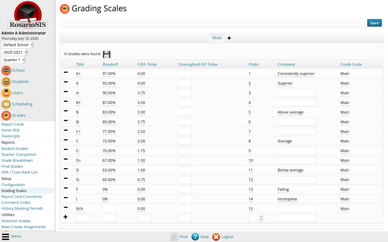 Report Card Grades Setup