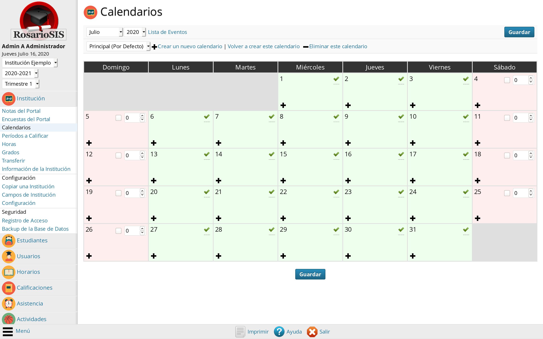 Calendario de la Institución