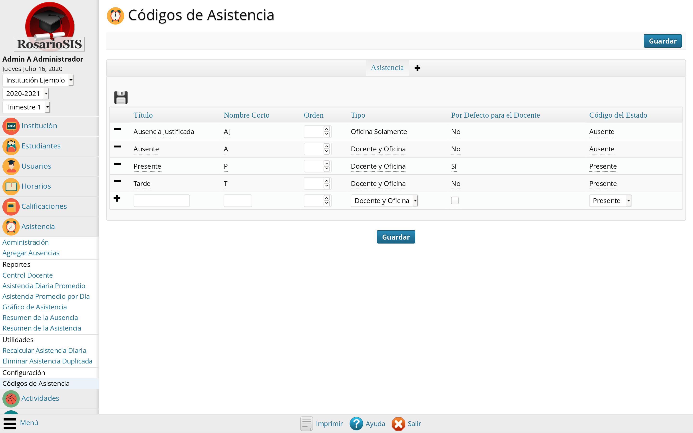 Configuración de los Códigos de Asistencia
