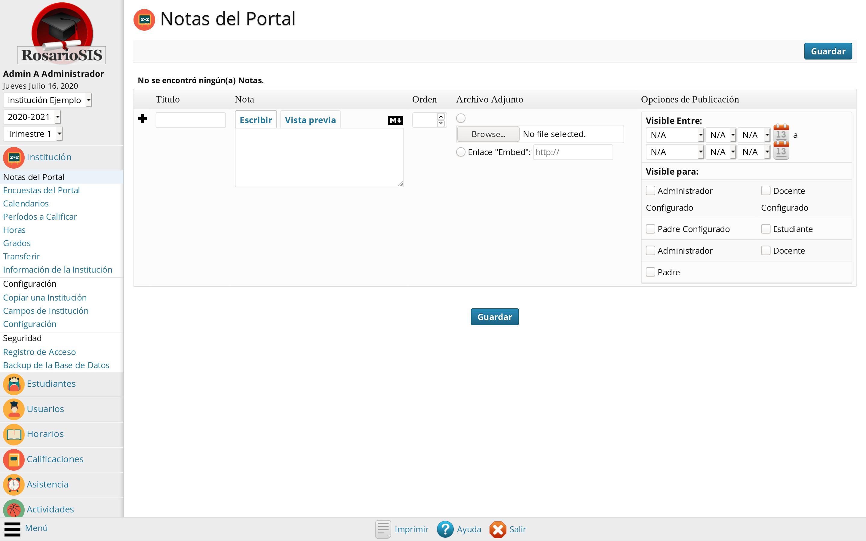 Notas del Portal