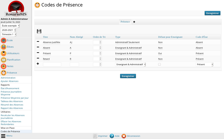 Configuration des Codes de Présence