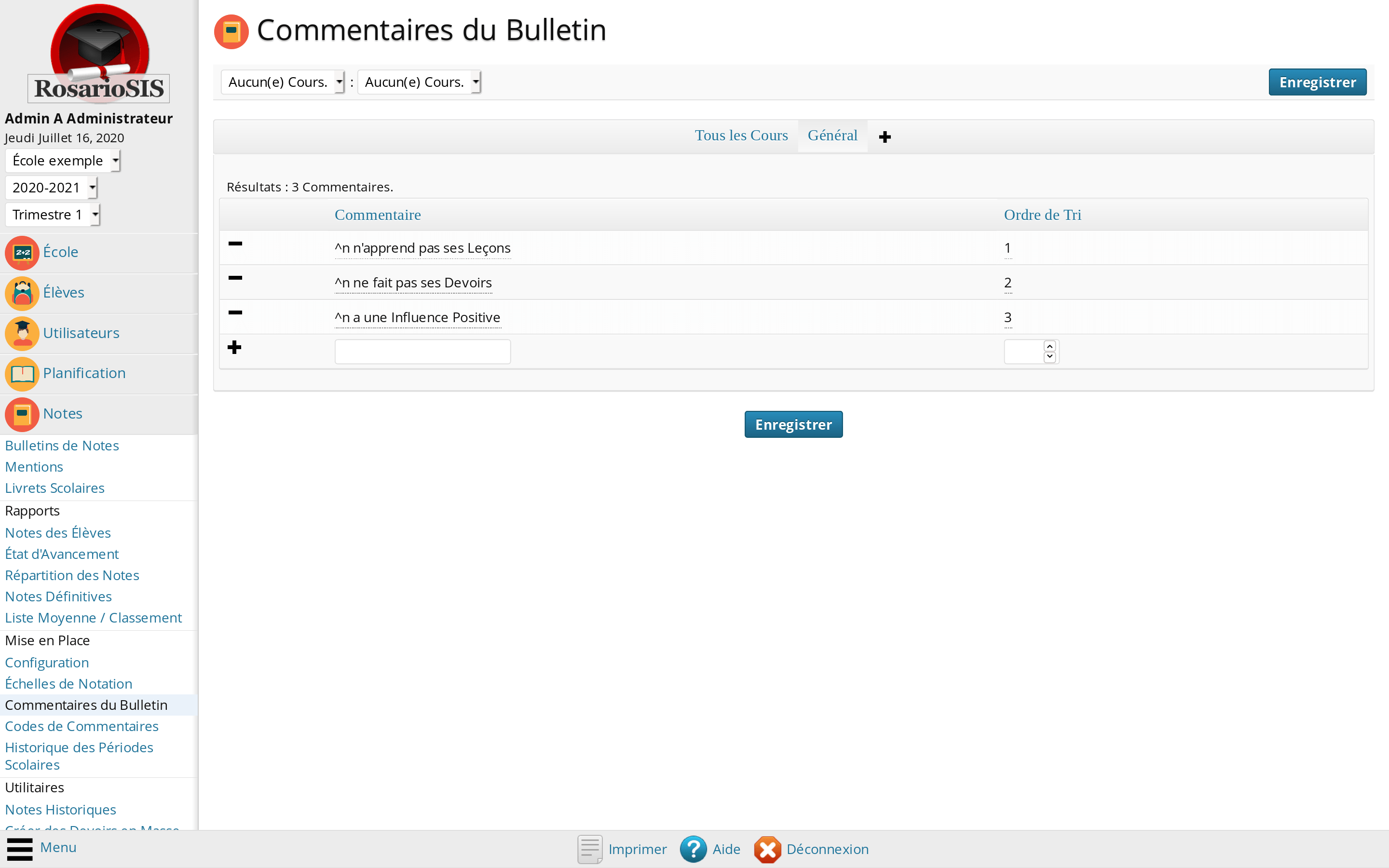 Configuration des Commentaires du Bulletin de Notes