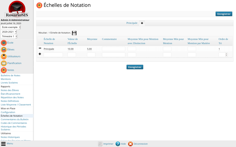 Configuration de l'Échelle de Notation Principale