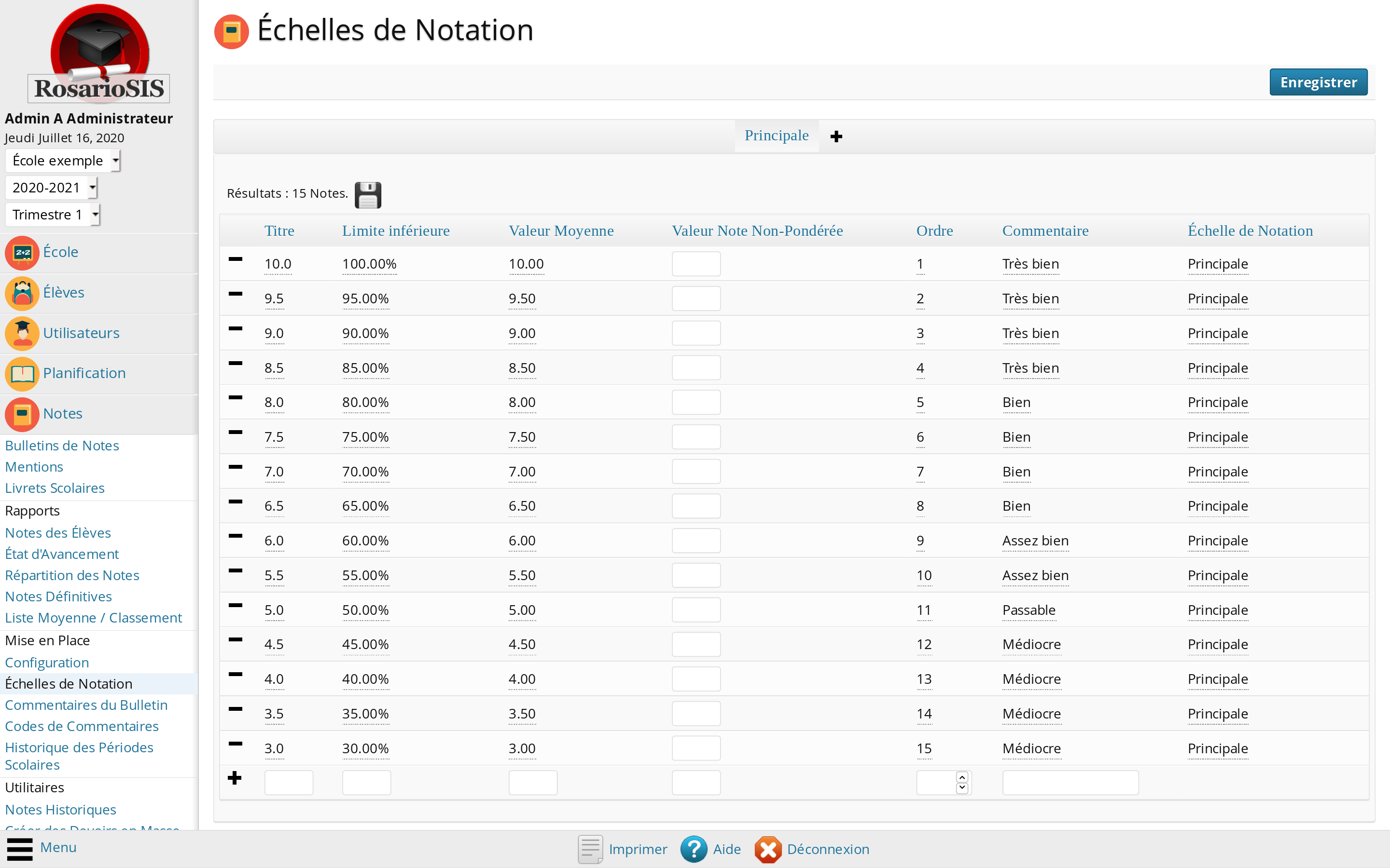 Configuration des Notes du Bulletin de Notes