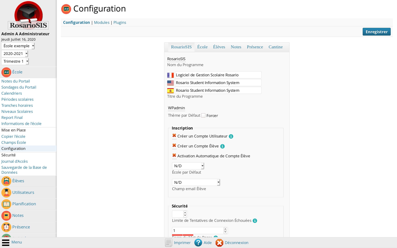 Configuration de l'École