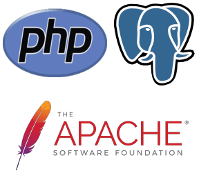 PHP + PostgreSQL + Apache logos