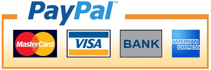 Paypal méthodes de paiement: cartes de crédit (Visa, MasterCard) et virement bancaire
