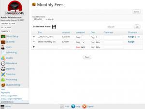 Student Billing Premium module screenshot