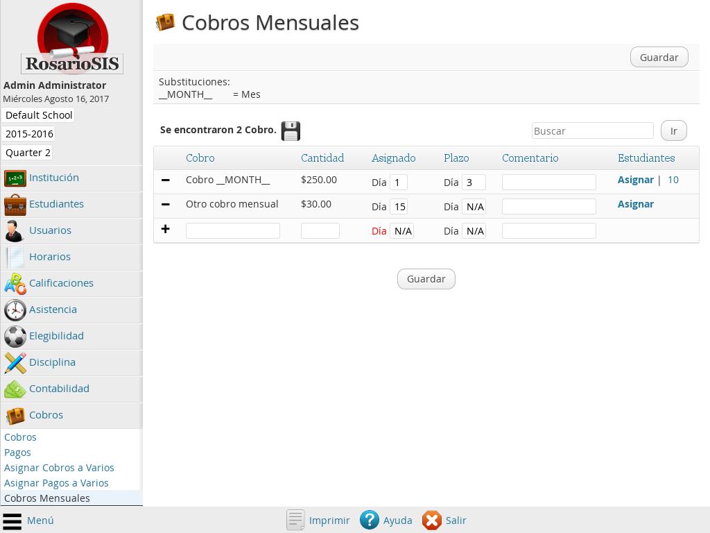Pantallazo Módulo de Cobros Premium