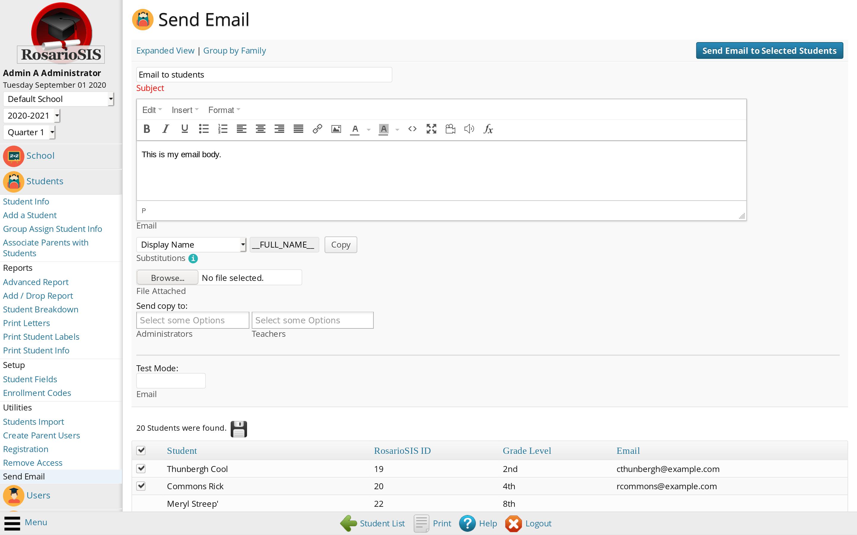 Email module screenshot