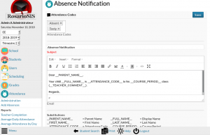 Email Parents module screenshot