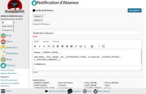 Screenshot module Email aux Parents
