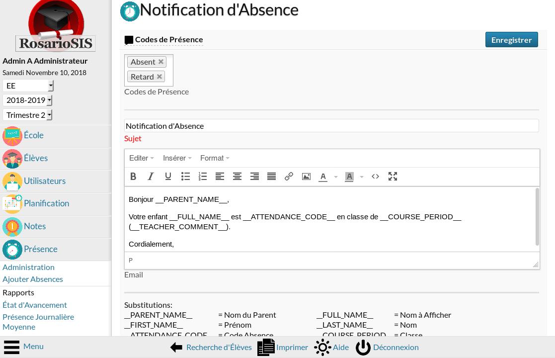 Capture d'écran Module Email aux Parents