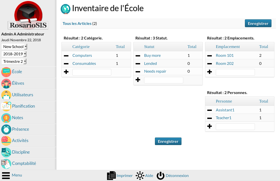 Module d'Inventaire screenshot