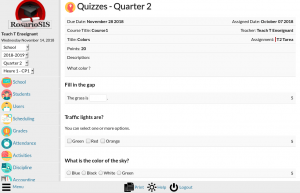 Quiz module screenshot
