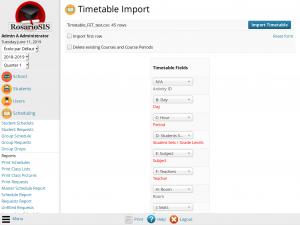 Timetable Import module screenshot
