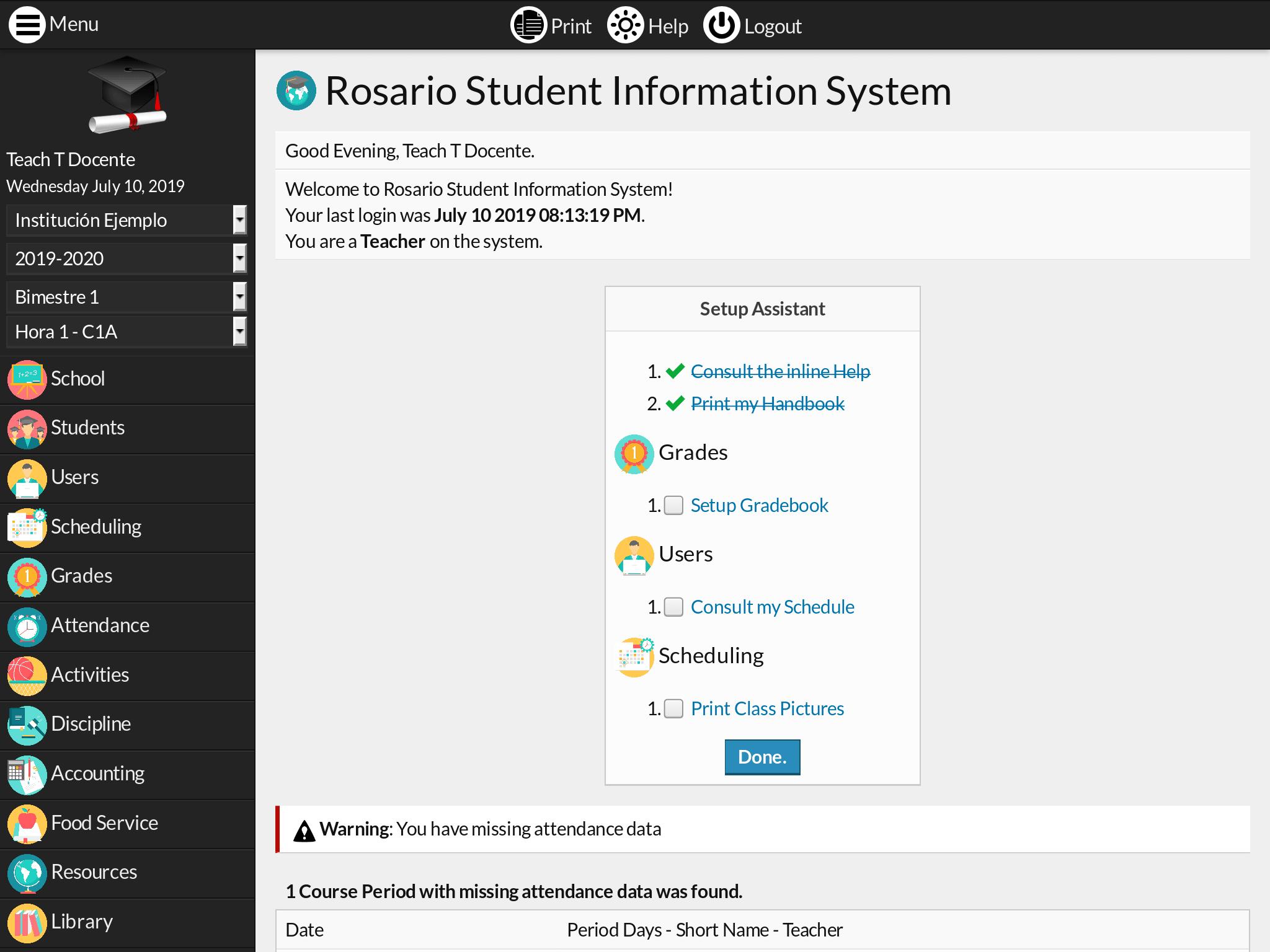 Setup Assistant plugin screenshot