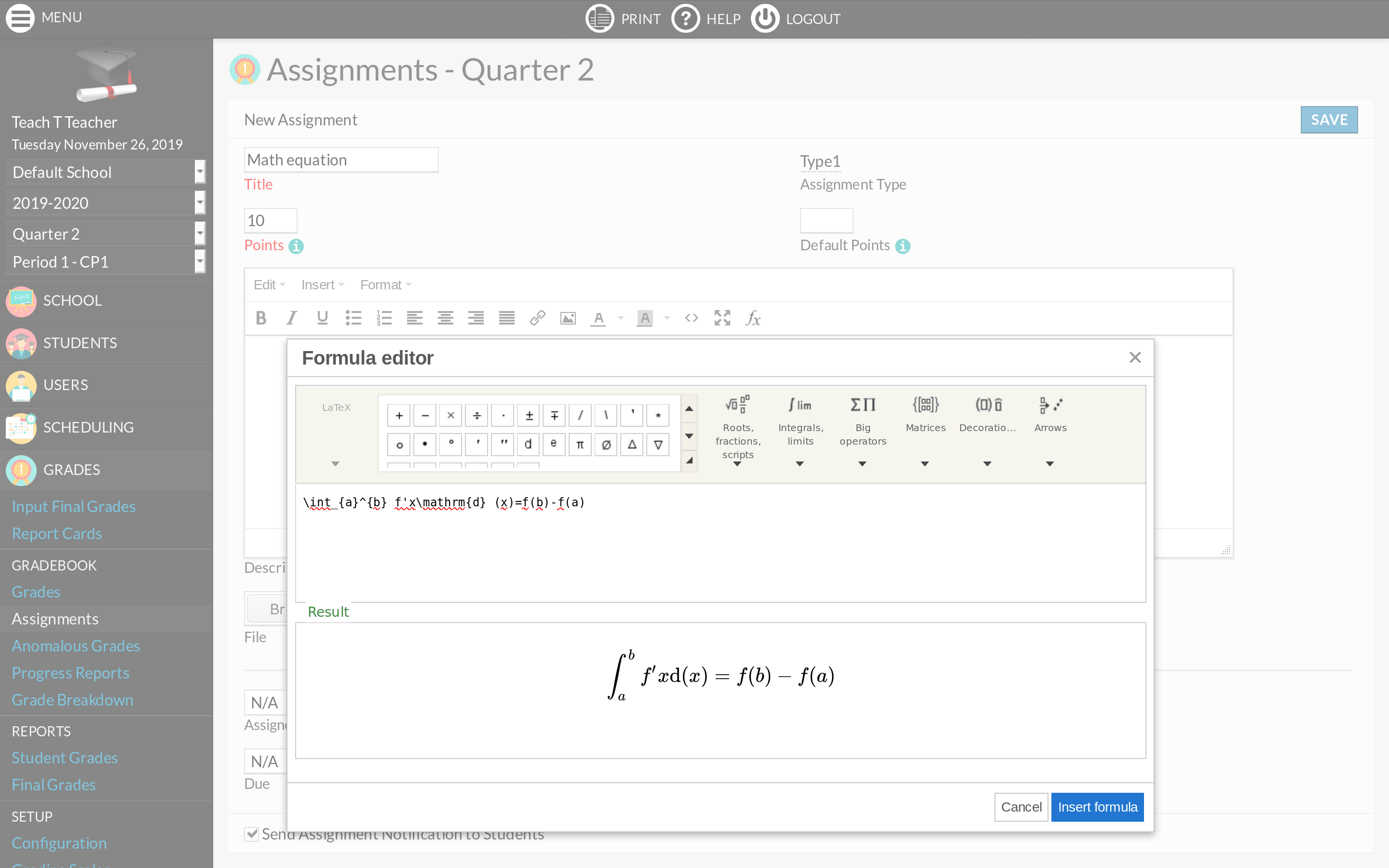 TinyMCE Formula plugin screenshot
