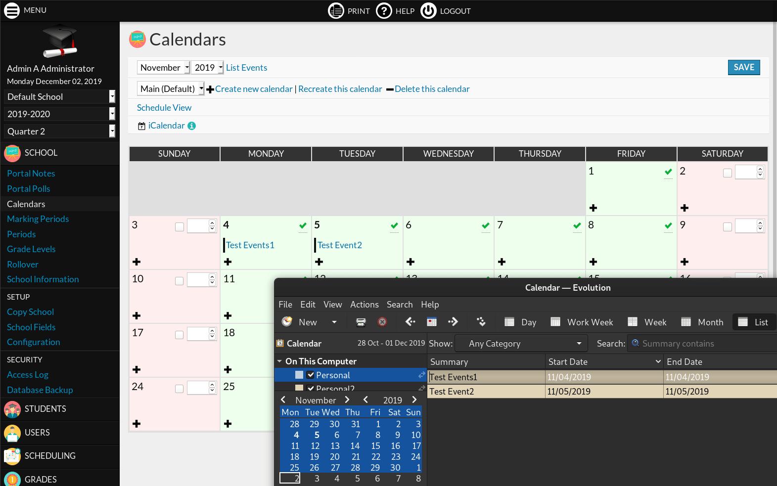 iCalendar plugin screenshot