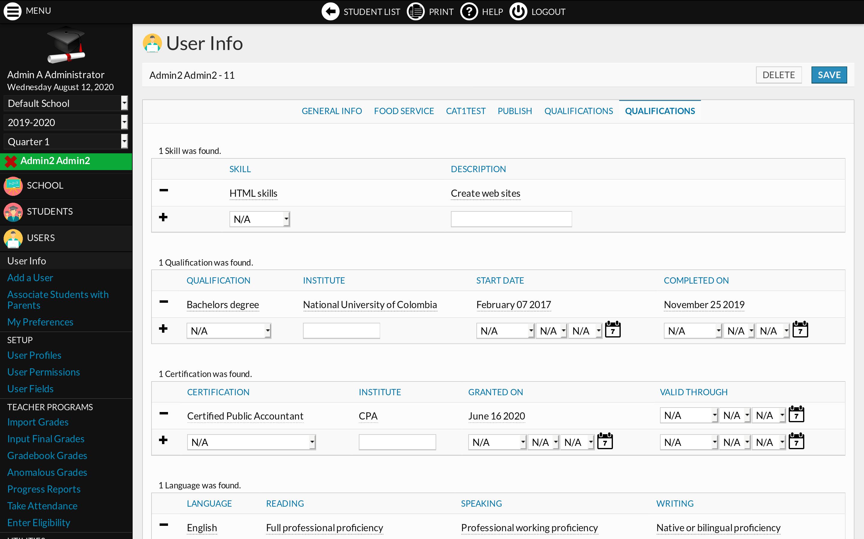 Human Resources module screenshot