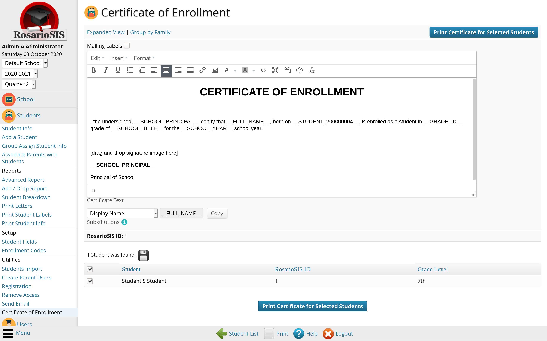 Certificate module screenshot